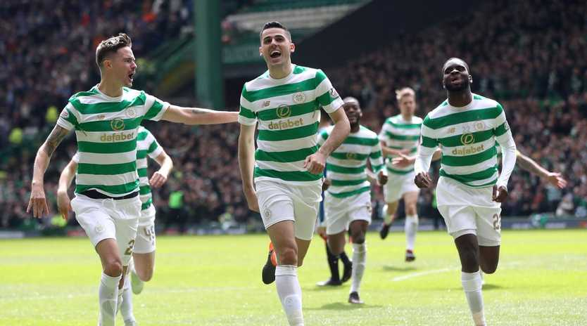 Tom Rogic of Celtic celebrates after scoring