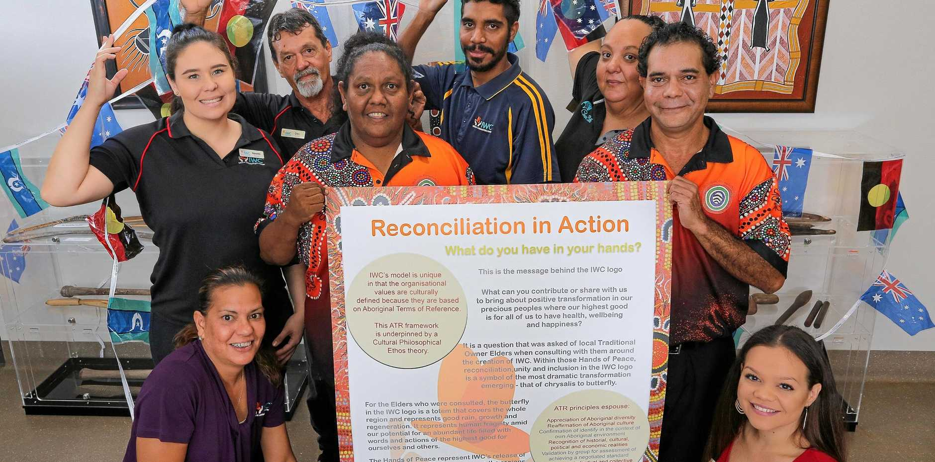 RECONCILIATION: IWC is gearing up to celebrate National Reconciliation Week 2018, and clockwise from bottom left is Tracey Darby, Naomi Madden, Desmond Parsons, Nicole Tiger, Kale Johnson, Simone Fletcher, Byron Broome and Kiama Theuerkauf-Smith.