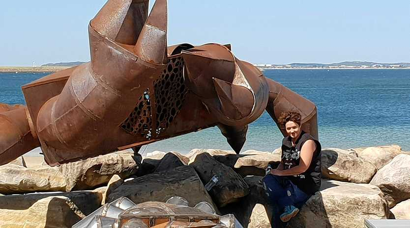 SNAPPY WIN: Toowoomba artist Joy Heylen with her multi-award winning sculpture 'The Crab', which won at the Sculptures @ Bayside competition in Sydney.