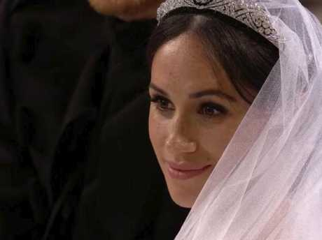 Meghan Markle at her wedding ceremony. Picture: UK Pool/Sky News via AP.