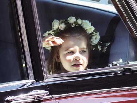Britain's Princess Charlotte arrives at the chapel. Picture: Chris Jackson/pool photo via AP