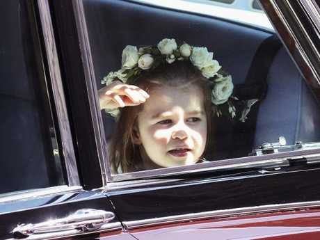 Britain's Princess Charlotte arrives at the chapel. Picture: Chris Jackson/pool photo via AP