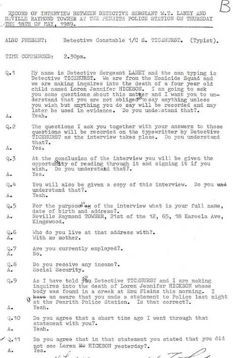 The original police transcript of Neville Towner's confession for the murder of Lauren Hickson.
