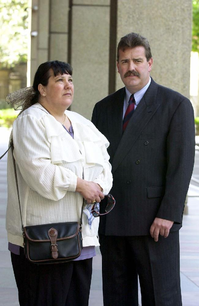 Jurina Hickson with Steve Ticehurst in 2002 when the NSW Supreme Court determined a life term for Towner. Picture: Stephen Cooper
