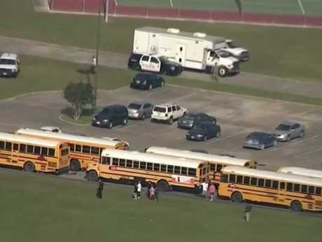 Law enforcement officers respond to a high school near Houston. Picture: AP