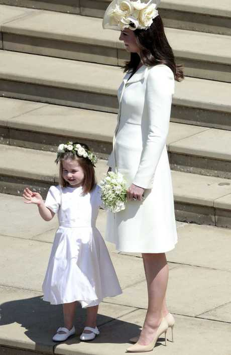 Kate, the Duchess of Cambridge and Princess Charlotte leave, after the wedding ceremony of Prince Harry and Meghan Markle at St. George's Chapel in Windsor Castle in Windsor, near London, England, Saturday, May 19, 2018. Picture: Andrew Matthews/AP