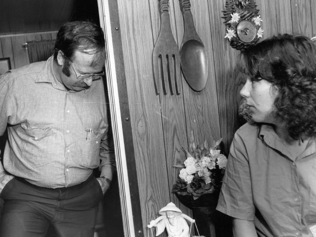 Lauren Hickson's parents Derek and Jurina in their caravan park after their daughter's murder.