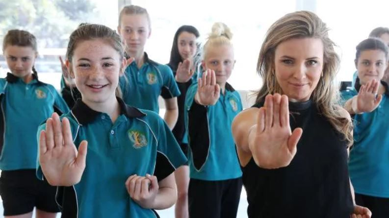 Mel Thomas works with school students to help teach them basic self defence skills. Picture: Toby Zerna