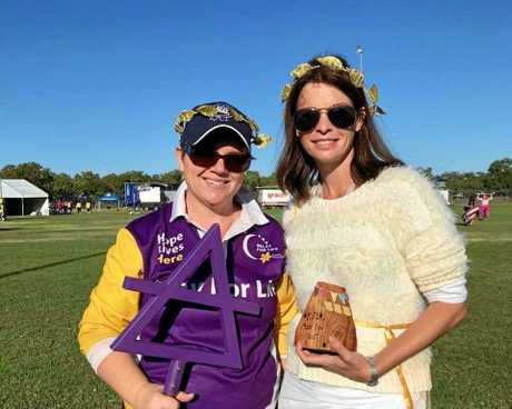 Tanya Gill (L) and Liz Sinclair (R) celebrating after winning best tent for the second year in a row.