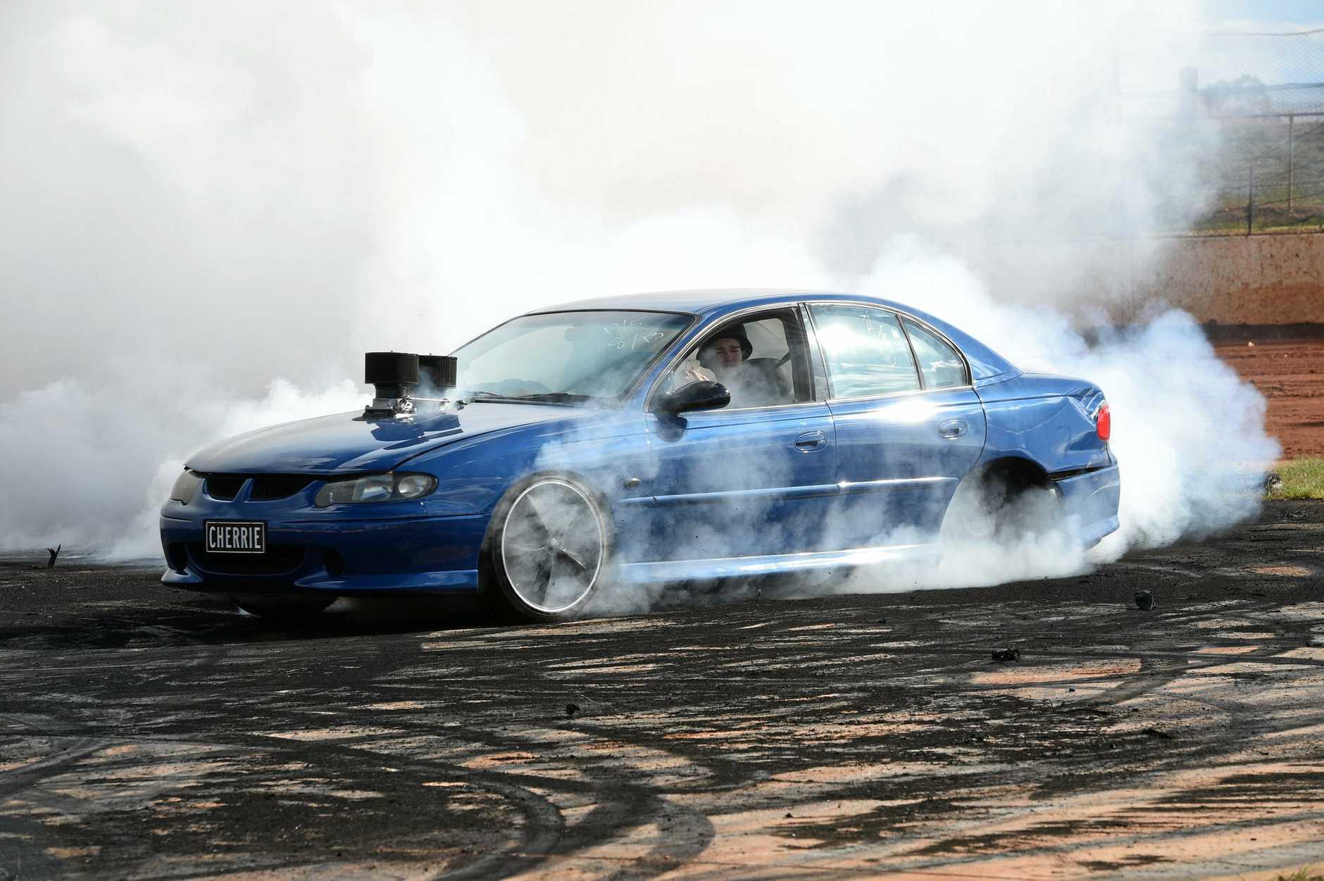 Burnout competition at Maryborough Speedway - Brandon Cherrie.