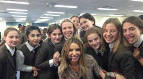 Mel Thomas with some of her school students. Picture: Supplied