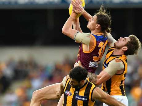 Eric Hipwood was a handful all day for the Hawks. Pic: AAP