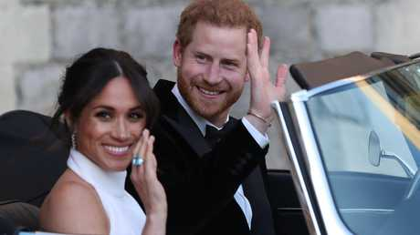 Meghan wore Diana's prized ring as her something blue. Picture: Steve Parsons/WPA/MEGA