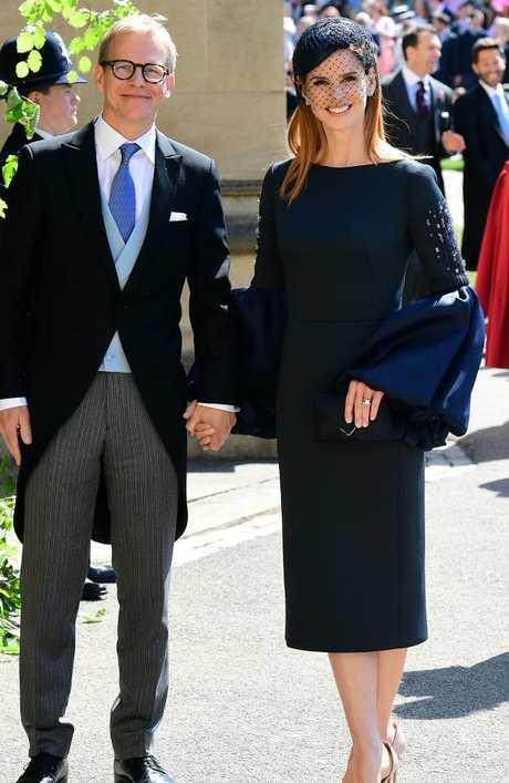 Meghan Markle's friend, actress Sarah Rafferty and husband Santtu Seppala. Picture: AFP