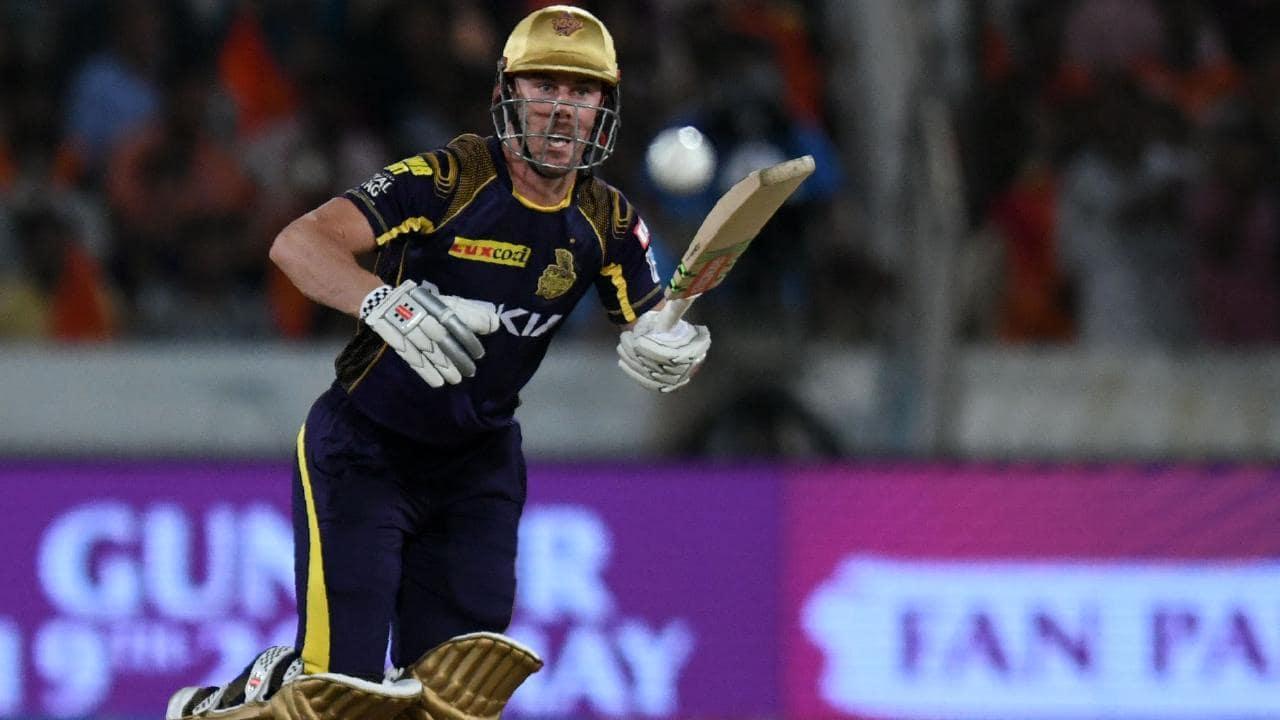 Kolkata Knight Riders cricketer Chris Lynn watches the ball after playing a shot.