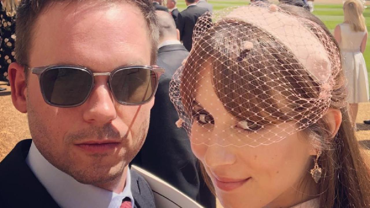 Patrick J Adams and Troian Bellisario at Windsor Castle during Prince Harry and Meghan Markle's wedding. Picture: @halfadams/Instagram