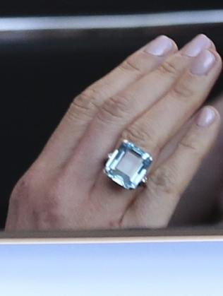 A close up of the ring worn by the newly married Duchess of Sussex, which was owned by her late mother-in-law Diana. Picture: Steve Parsons/PA via AP