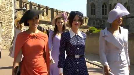 Janina Gavankar, Abigail Spencer and Priyanka Chopra arrive at Prince Harry and Meghan Markles Wedding. Picture: Supplied