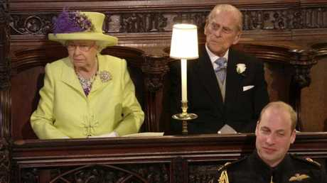 Queen Elizabeth, Prince Philip and Prince William registered different reactions. Picture: UK Pool/Sky News via AP