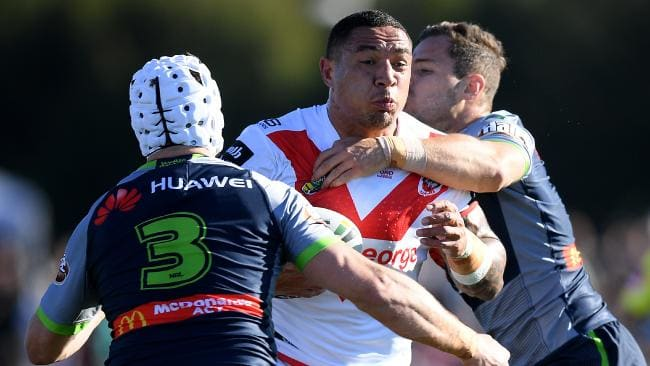 Dragons forward Tyson Frizell on the charge against the Raiders at Glen Willow Oval in Mudgee.