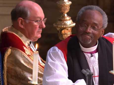 For his admirers what counted was not what Bishop Curry said but that it was a black man saying it, and to white royalty. Picture: YouTube