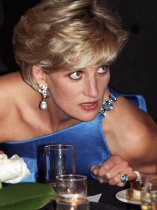 Diana, Princess of Wales, wears the stunning emerald cut aquamarine ring at an event in Sydney. Picture: PA via AP
