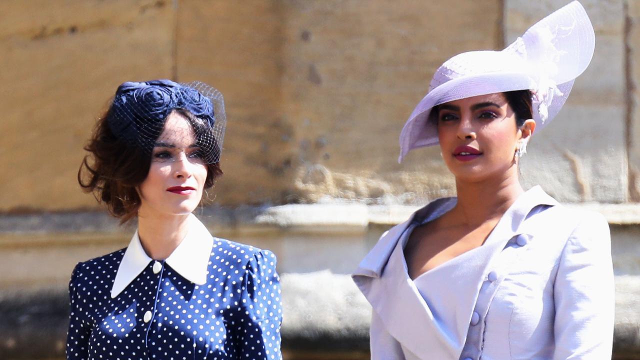 Abigail Spencer and Priyanka Chopra arrive at the wedding. Picture: Mega