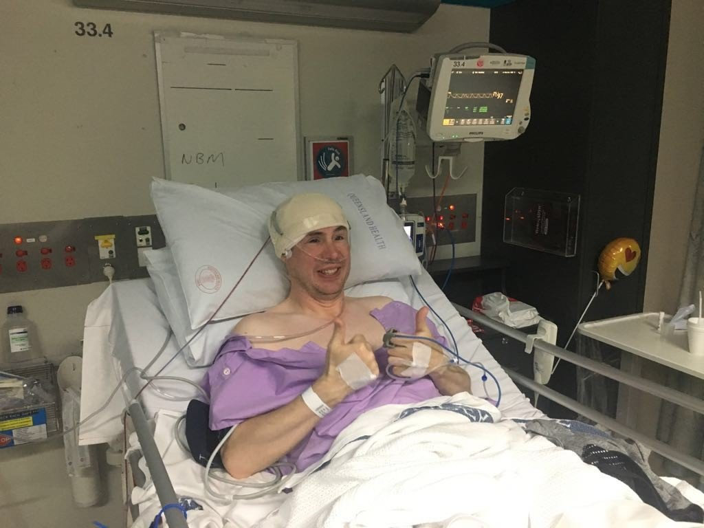 VERY LUCKY: Sydney man John O'Neill was rushed from Toowoomba Hospital to Brisbane by chopper after he collapsed from a massive tumour on his brain.
