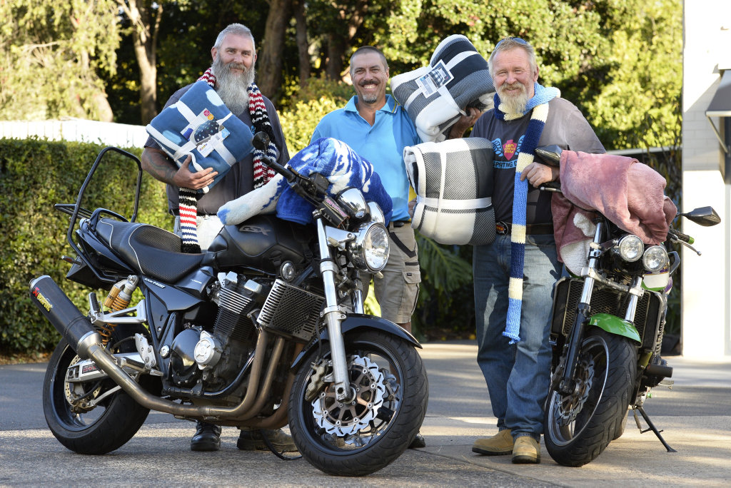 Ready for the Huggie Bear Memorial Toowoomba Blanket Run are JJ Rodgers (left) and Mark Andrews of Downs Motorcycle Sporting Club with Matthew Weier (centre) of Help a Friend Club of Toowoomba, Friday, May 18, 2018.