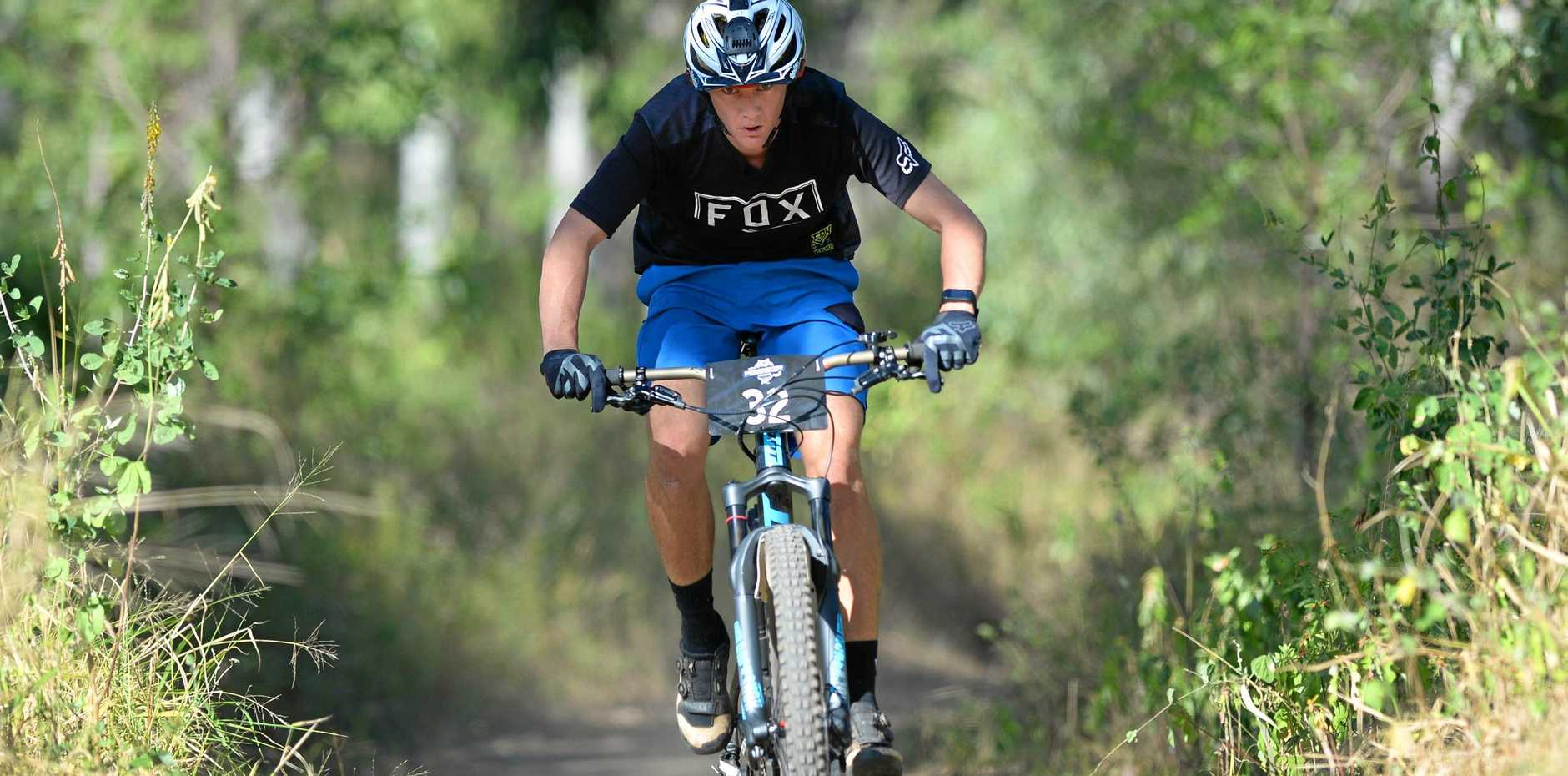 ENDURANCE TEST: Anthony Oakeshott powers into the six-hour event on the trails at First Turkey on Saturday. He and teammate Clinton Daniels completed nine laps to win the team-of-two category.