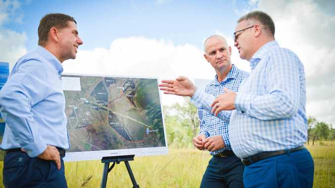 GOING AHEAD: Minister for State Development, Manufacturing, Infrastructure and Planning Cameron Dick, Member for Gladstone Glenn Butcher and Acciona managing director Brett Wickham during the announcement of the company's plans to build a $500 million solar farm at Aldoga.