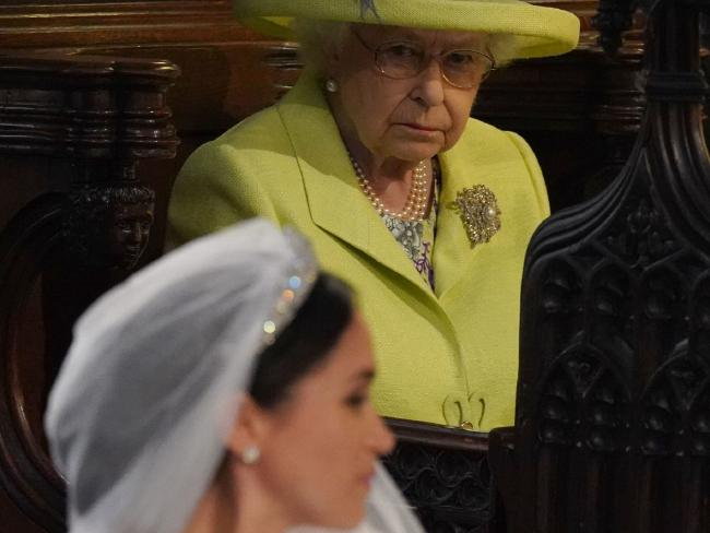 Queen Elizabeth II looks on during the wedding ceremony of Prince Harry and Meghan Markle.
