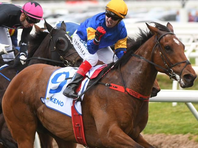 Santa Ana Lane wins the Sir Rupert Clarke Stakes at Caulfield last year. Picture: Getty Images