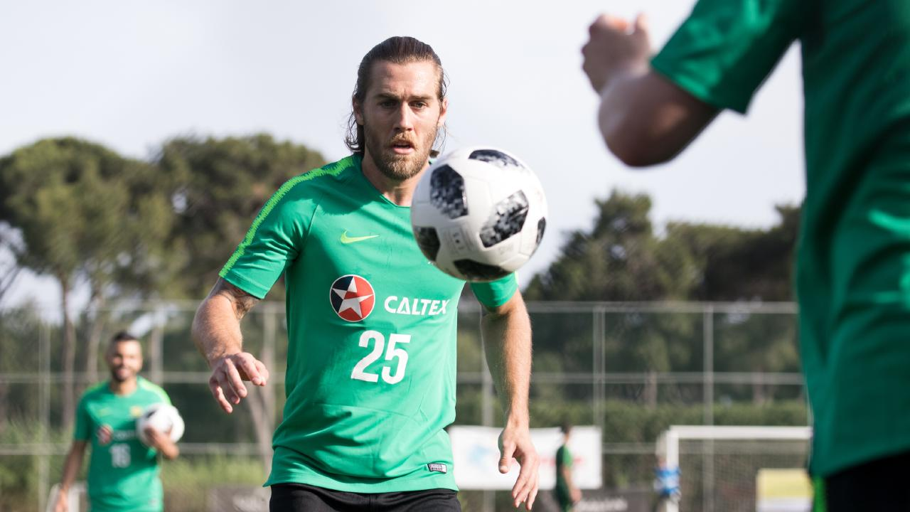 Josh Brillante at Socceroos training in Antalya