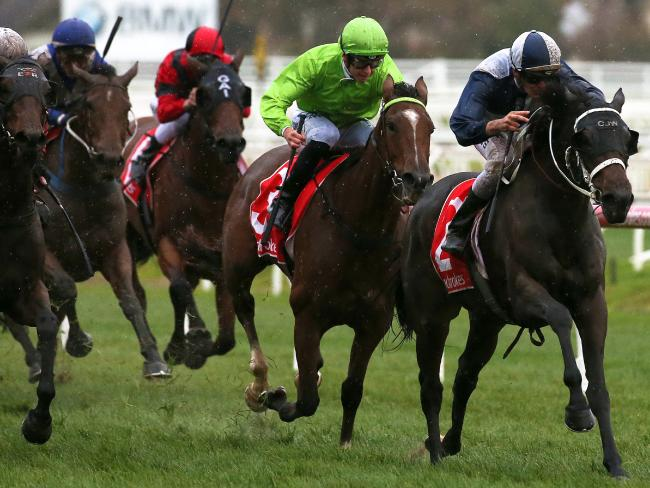 Regan Bayliss and Savacool register a win at Caulfield last month. Picture: AAP