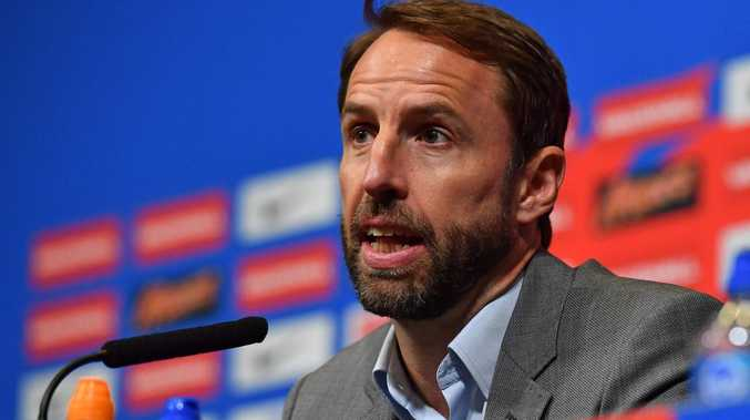 England's manager Gareth Southgate attends a press conference.