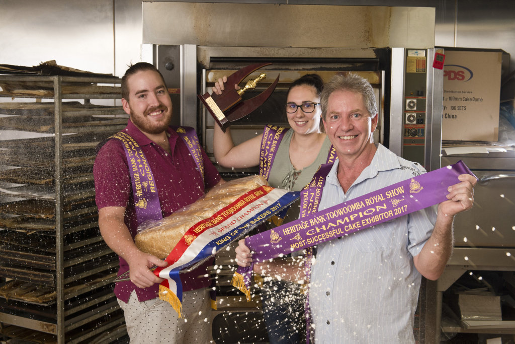 Thrilled to win are (from left) Mitchell, Amie and Brendon Stewart of On the Rise Bakery, Westbrook, after taking out 18 awards at the RASQ King of the Bakers Show, Sunday, March 5, 2017.
