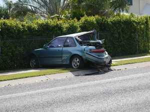Wreckage in Urangan part of a two-car crash