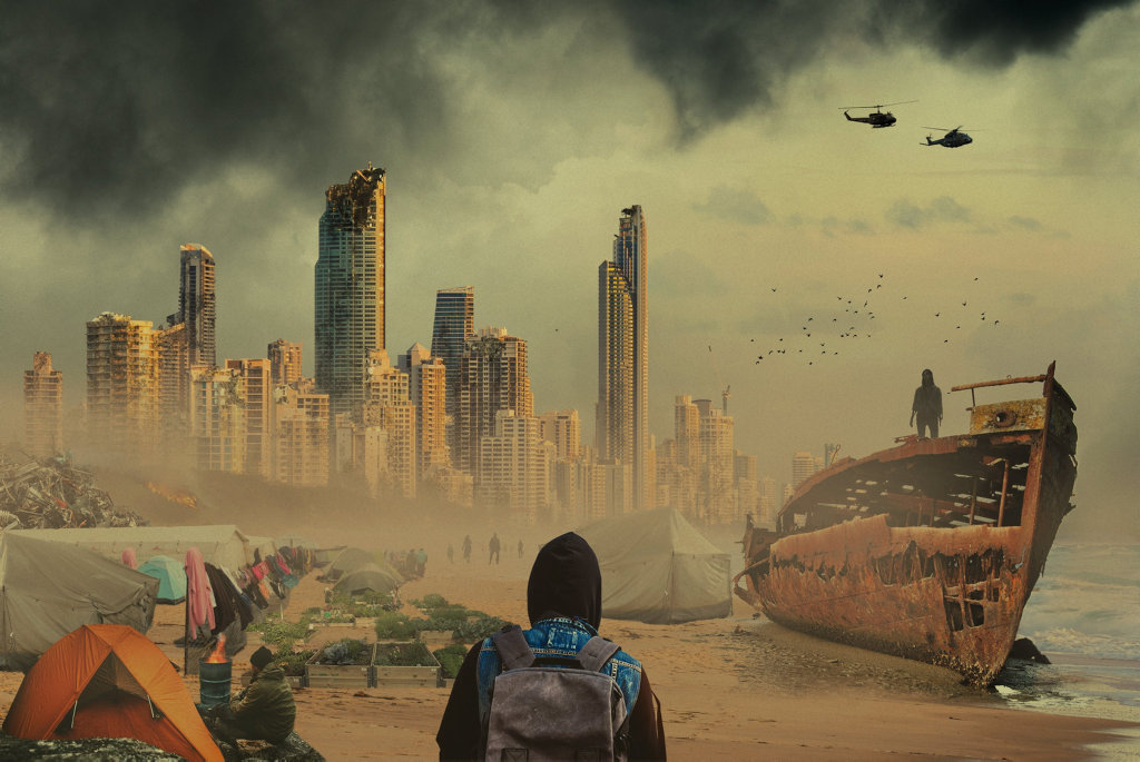 ZOMBIE ATTACK: An artist's impression of what the Gold Coast might look like after a zombie attack.