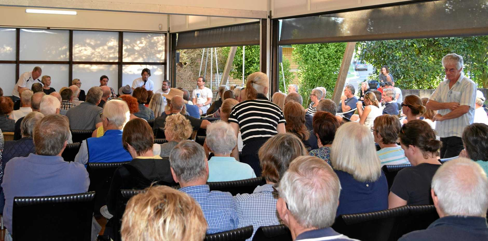 PACKED: The Peregian surf club information meeting saw the crowd spill out on the veranda and lawn