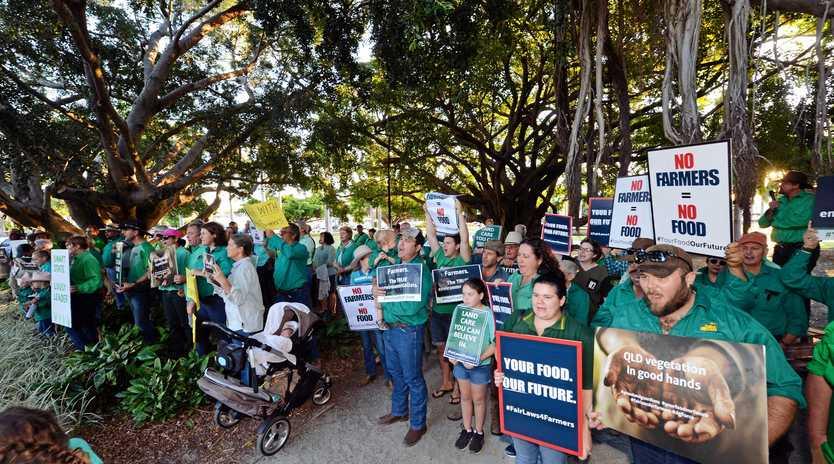 Agforce vegetation management protest at MECC for Premier Annastacia Palaszczuk visit.
