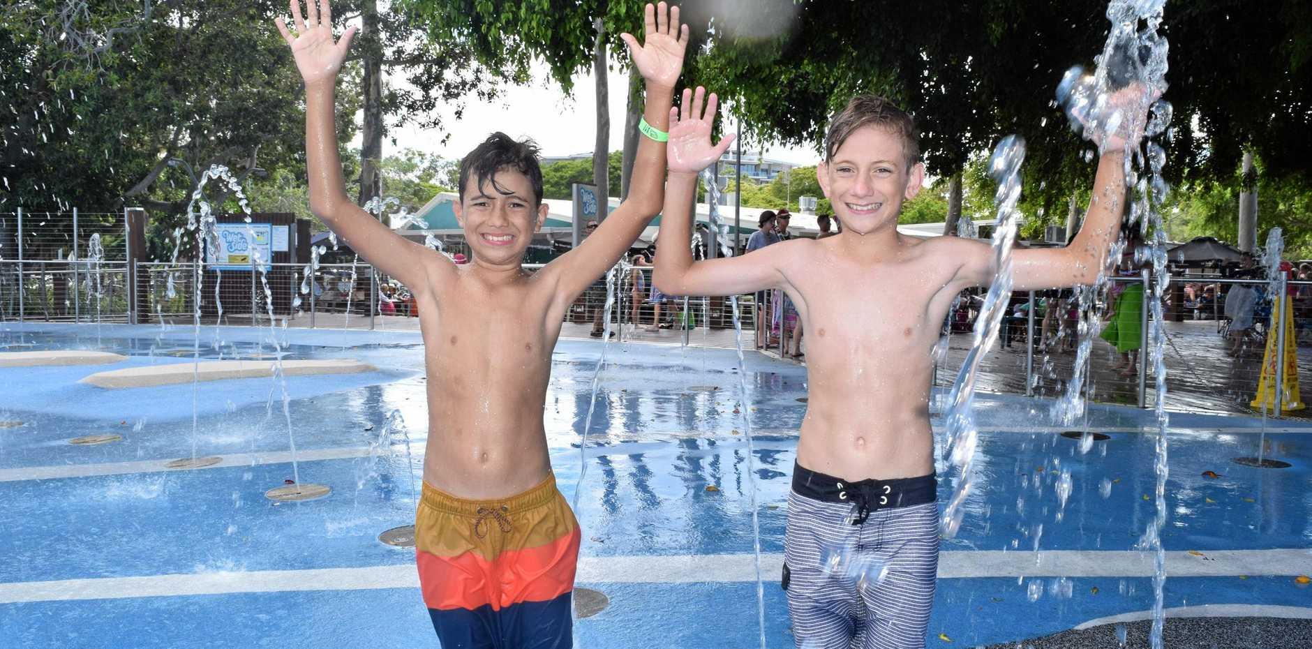 Jaxon and Jonah Tongiatama cooling off at WetSide Waterpark in Hervey Bay.