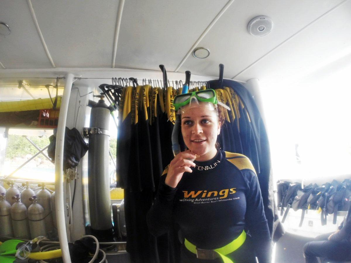 Bethany Emily Farrell, 23, pictured just hours before she drowned on her first scuba dive.