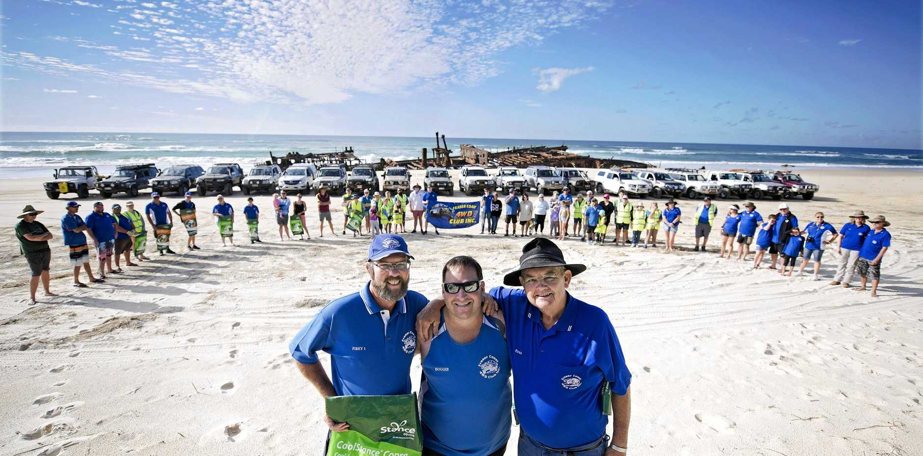 GOOD JOB: The Queensland 4WD Association along with National Parks and Wildlife and Ocean Crusaders held a clean-up event on Fraser Island at the weekend.