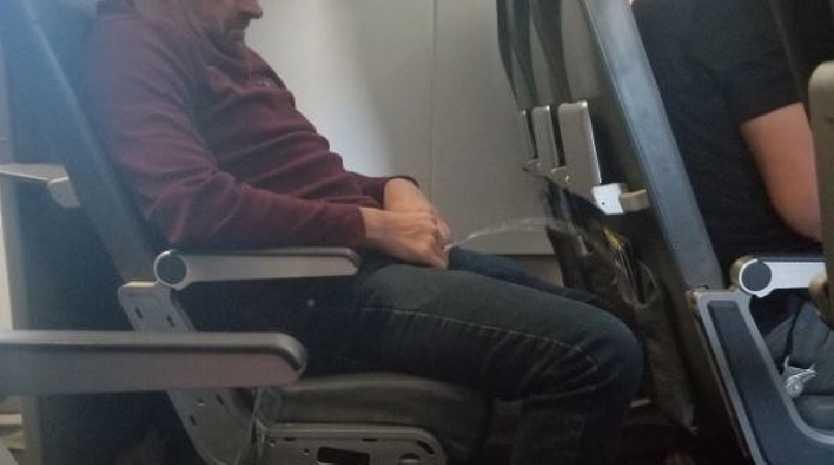 A passenger took a photo of a man peeing on a flight. Picture: CBS Denver