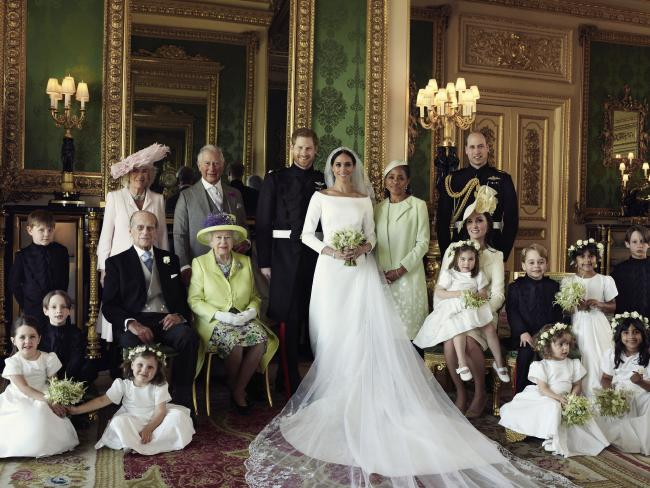 Wedding portrait. Pictured with Prince Harry and Meghan from left, back row, Jasper Dyer, Camilla, Duchess of Cornwall, Prince Charles, Doria Ragland, Prince William; centre row, Brian Mulroney, Prince Philip, Queen Elizabeth II, Kate, Duchess of Cambridge, Princess Charlotte, Prince George, Rylan Litt, John Mulroney; front row, Ivy Mulroney, Florence van Cutsem, Zalie Warren, Remi Litt. (Alexi L
