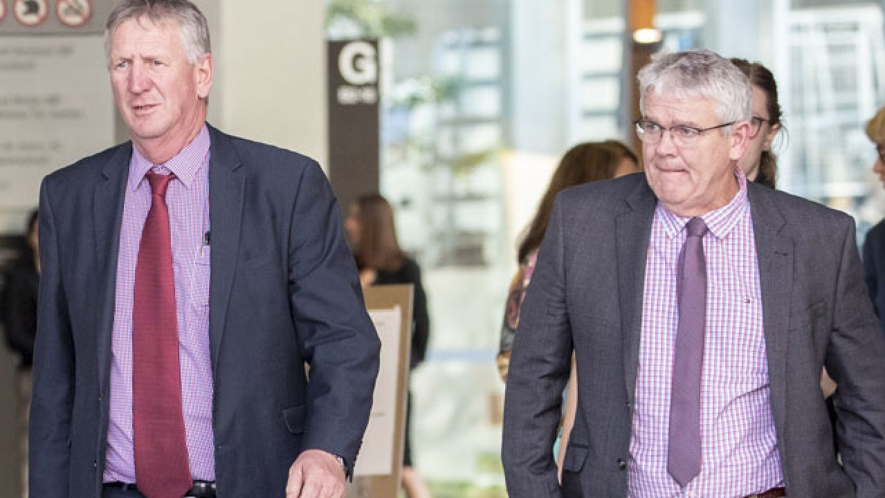 Wagner brothers Dennis and Neill seen leaving the Supreme Court in Brisbane this week. Picture: Glenn Hunt/AAP