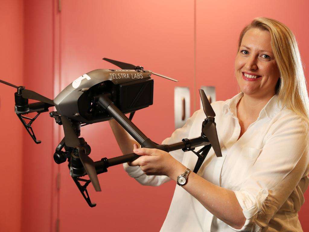 Drone expert Dr Catherine Ball, at the Telstra Vantage conference. Picture: Liam Kidston