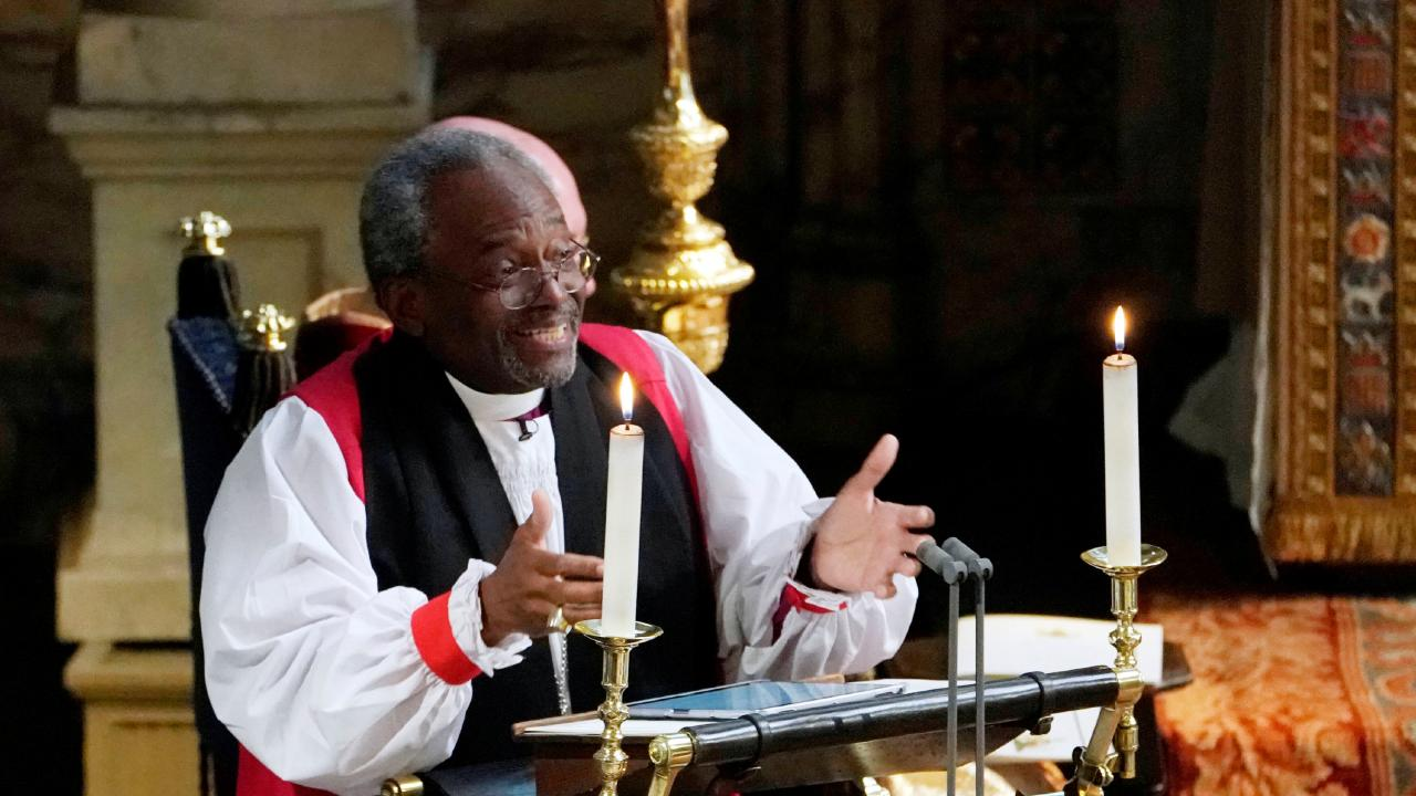 Samantha said she was feeling inspired by The Most Rev Bishop Michael Curry's sermon. Picture: Owen Humphreys/Pool via REUTERS — RC1CE2F969C0