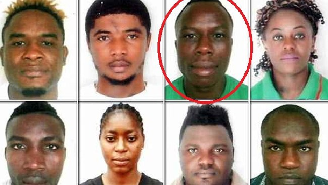 Fotsala, circled among other Cameroonian athletes who competed in boxing or weightlifting.